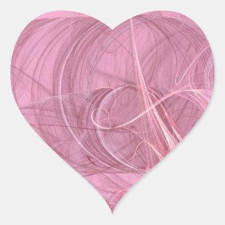 Pink Abstract Fractal Heart Sticker