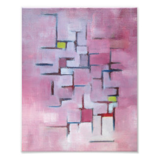 Pink Abstract Geometric Original Art Oil Painting Photo Print