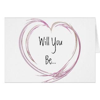 Pink Abstract Heart Be My Bridesmaid Card