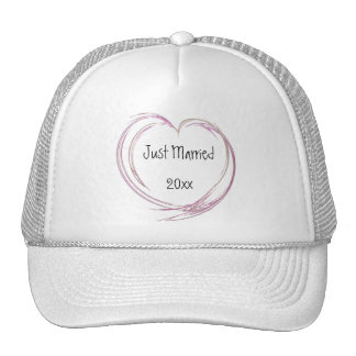 Pink Abstract Heart Just Married Cap