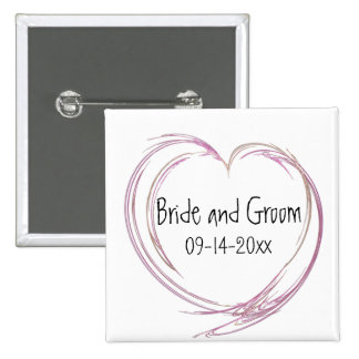 Pink Abstract Heart Wedding 15 Cm Square Badge