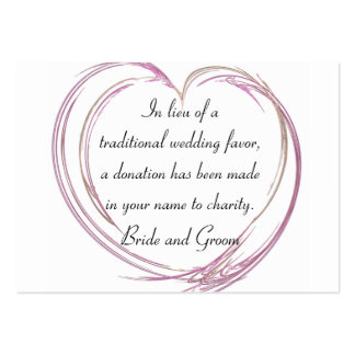 Pink Abstract Heart Wedding Charity Favor Card Pack Of Chubby Business Cards