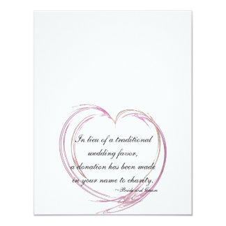 """Pink Abstract Heart Wedding Charity Favor Cards 4.25"""" X 5.5"""" Invitation Card"""