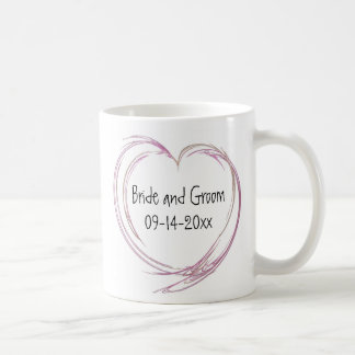 Pink Abstract Heart Wedding Coffee Mug