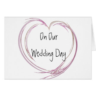 Pink Abstract Heart Wedding Day Card