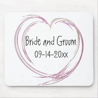 Pink Abstract Heart Wedding Mouse Pad