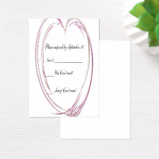 Pink Abstract Heart Wedding RSVP Response Card