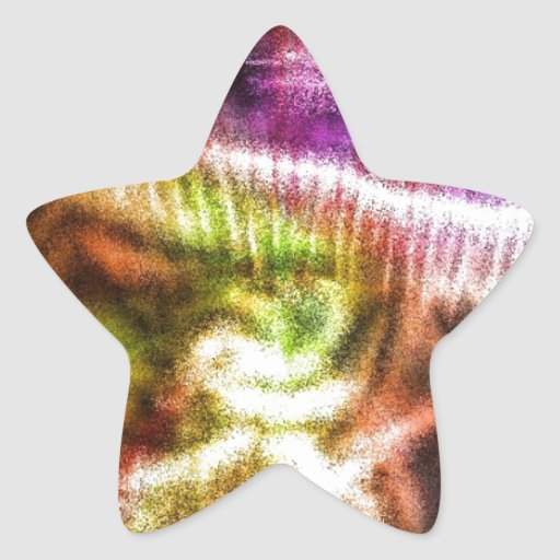 Pink Abstract Mushroom Star Stickers