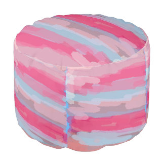 Pink Abstract Pattern Pouf