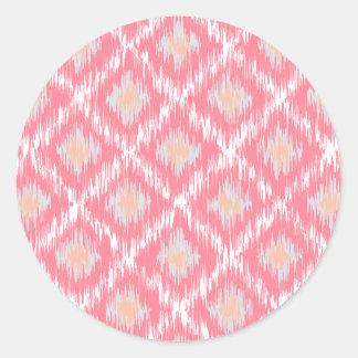 Pink Abstract Tribal Ikat Chevron Diamond Pattern Round Sticker