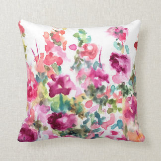 Pink Abstract Watercolor Flower Background Cushion