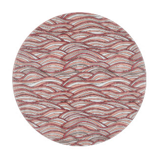 Pink abstract waves pattern. Sea texture. Cutting Board