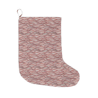 Pink abstract waves pattern. Sea texture. Large Christmas Stocking