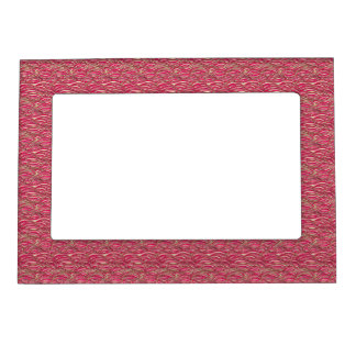 Pink abstract waves pattern. Sea texture. Magnetic Picture Frame