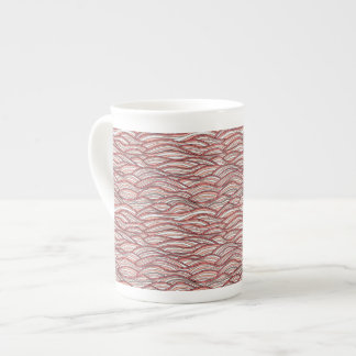 Pink abstract waves pattern. Sea texture. Tea Cup