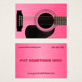 Pink Acoustic Guitar Business Card