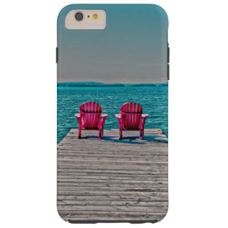 pink adirondack chairs beach lake turquoise water tough iPhone 6 plus case