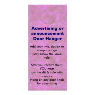 PINK Advertising DOOR HANGER promotion tags Customized Rack Card