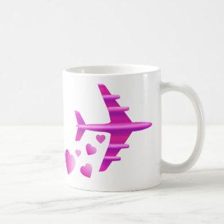 Pink Aeroplane Valentine Coffee Mugs