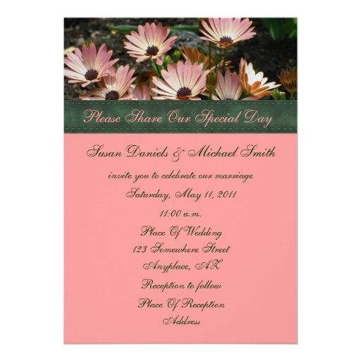 Pink African Daisies Floral Wedding Invitation