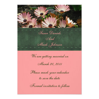 Pink African Daisies Floral Wedding Save The Date Custom Invitation