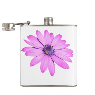 Pink Afrıcan Daisy With Transparent Background Hip Flask