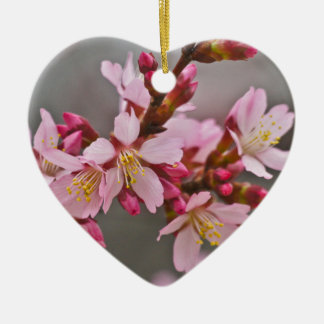 Pink Against A Gray Sky Japanese Cherry Blossoms Ceramic Heart Decoration