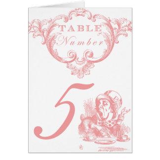 Pink Alice in Wonderland Wedding Table Numbers Card