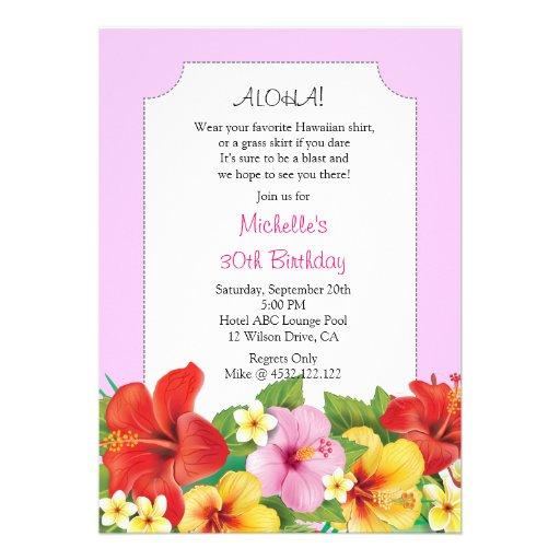 Pink Aloha Luau Birthday Party Custom Announcements