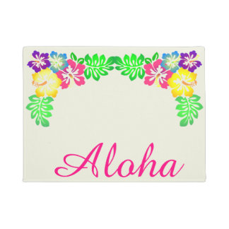 Pink Aloha Typography | Tropical Hibiscus Flowers Doormat