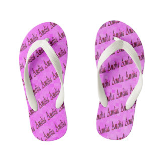 Pink Amelia Girls Name Logo Kid's Thongs