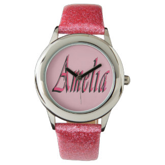 Pink Amelia Girls Name Logo Watch