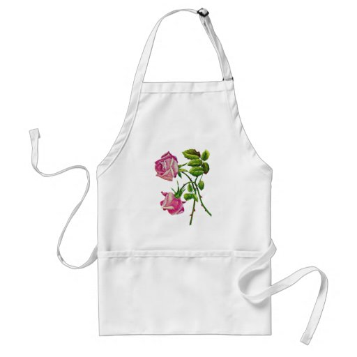 Pink American Beauty Roses in Embroidery Apron
