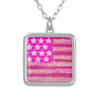 pink american flag square pendant necklace