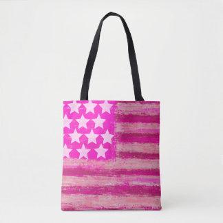 Pink american flag tote bag