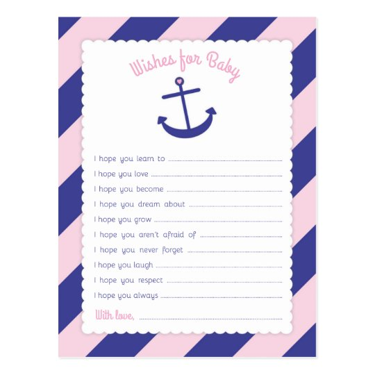 Pink Anchor Baby Shower Wishes for Baby Postcard