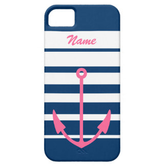 Pink anchor iPhone 5 case | navy blue and white