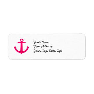Pink Anchor Label Return Address Label