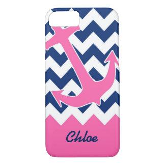 Pink Anchor & Navy Chevron iPhone 7 Case