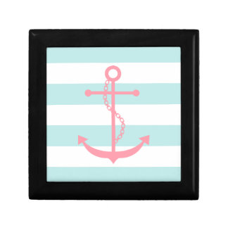 Pink Anchor on Mint Stripes Small Square Gift Box