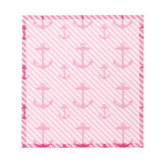 Pink Anchor Pattern Notepad