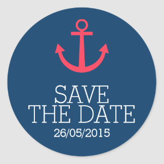 Pink anchor save the date stickers