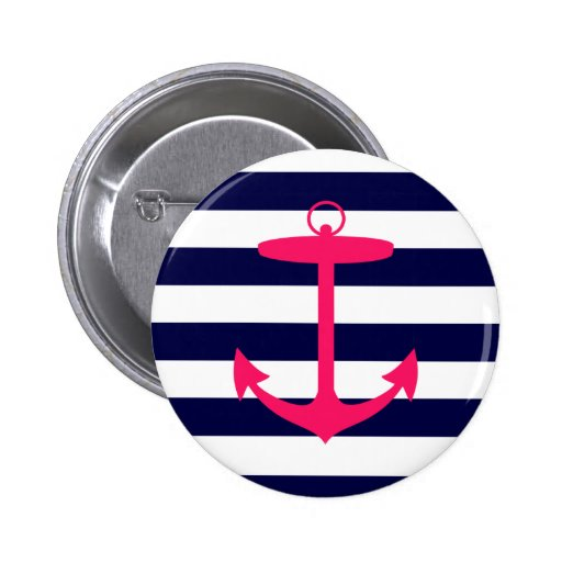 Pink Anchor Silhouette Button