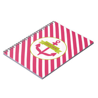 Pink Anchor & Stripes Notebook