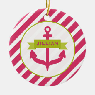 Pink Anchor & Stripes Ornament