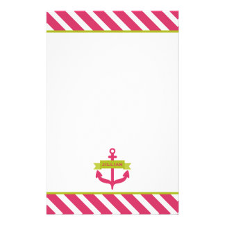 Pink Anchor & Stripes Personalized Stationery