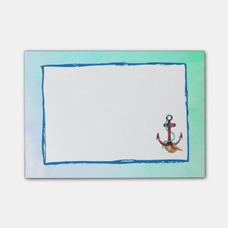 Pink Anchor With Rope And Seashells In Watercolor Post-it® Notes