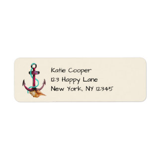 Pink Anchor With Rope And Seashells In Watercolor Return Address Label