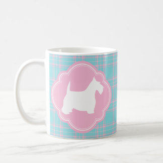 Pink and Antique Blue Plaid Scottie Coffee Mug