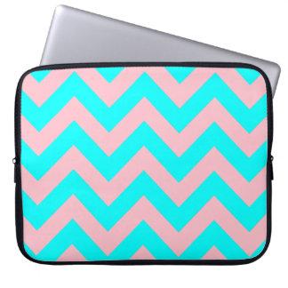 Pink and Aqua Chevron Laptop Sleeve